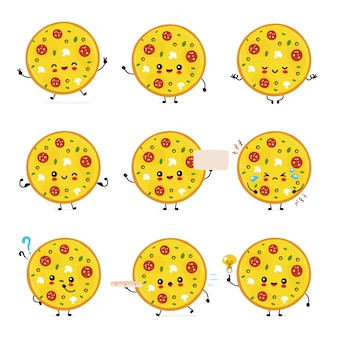 Cute happy smiling pizza set collection. isolated on white background. pizza menu