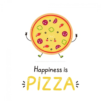 Cute happy smiling pizza.