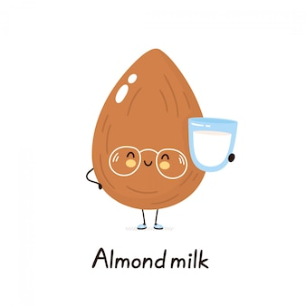 Cute happy smiling plant based almond milk character. isolated on white background. cartoon character illustration design,simple flat style. plant almond milk concept