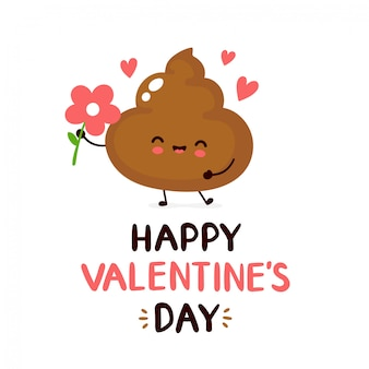 Cute happy smiling poop with flower valentine's greeting card