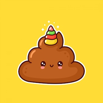 Cute happy smiling poop with unicorn horn
