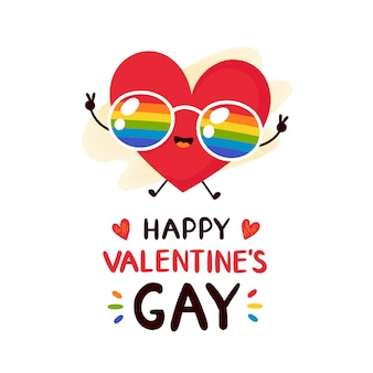 Cute happy smiling red heart in rainbow lgbt glasses valentine's greeting card