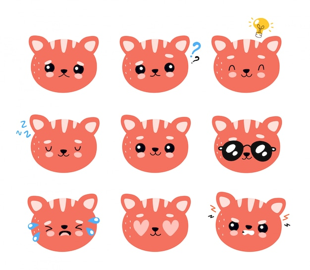 Cute happy smiling and sad cat character set collection.