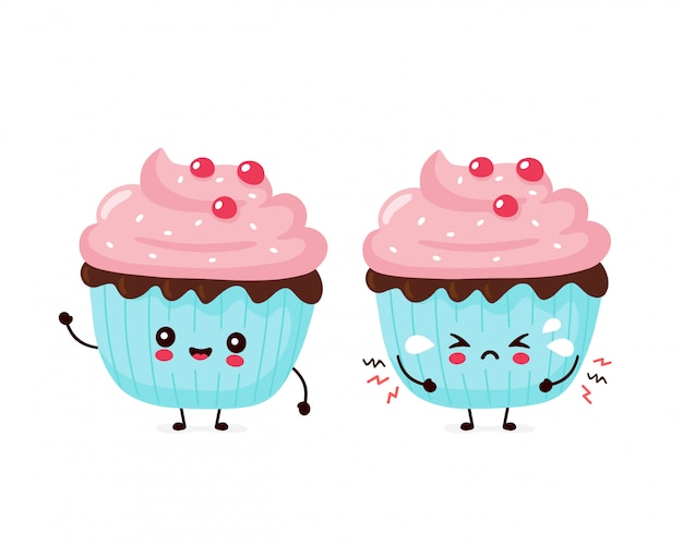 Cute happy smiling and sad cry cupcake.