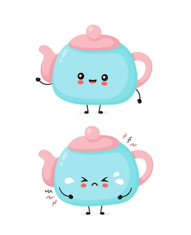 Cute happy smiling and sad cry teapot.