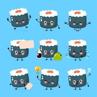 かわいい幸せな笑顔の寿司キャラクターセットのコレクション。寿司キャラクターコンセプト