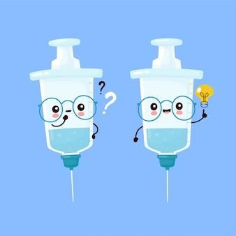 Милый счастливый усмехаясь шприц с вопросительным знаком и лампочкой идеи. плоский дизайн иллюстрации персонажа из мультфильма. шприц, концепция медицинской вакцины