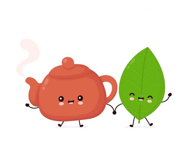 かわいい幸せな笑顔のティーポットと茶葉。