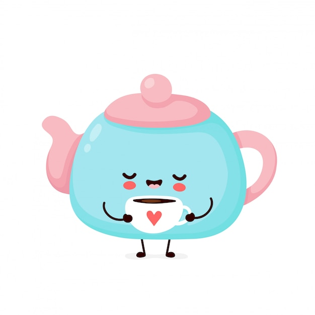 Cute happy smiling teapot hold mug with heart.