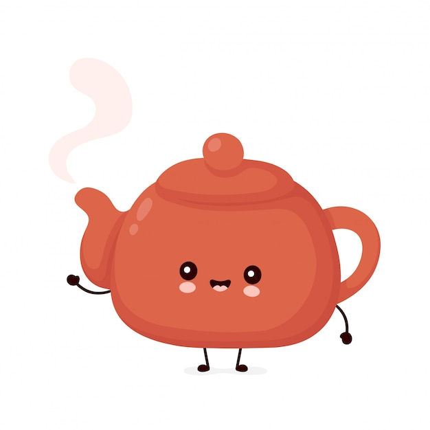 Cute happy smiling teapot. isolated on white background. teapot,tea menu concept