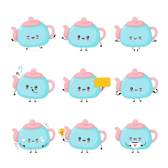 Cute happy smiling teapot set collection. isolated on white background. teapot,tea menu