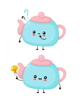 Cute happy smiling teapot with question mark and idea lightbulb.