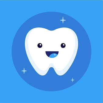 Cute happy smiling tooth icon