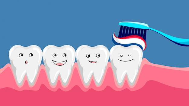 Cute happy smiling tooth with toothbrush and toothpaste. brushing clean teeth. dental kids care.  modern flat style cartoon character illustration