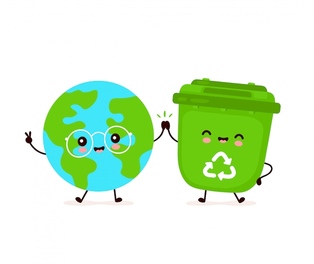 Мило счастливый улыбающийся мусорное ведро и планеты земля. плоский дизайн иллюстрации персонажа из мультфильма. изолированный на белой предпосылке. переработка мусора, сортированного мусора, сохранение концепции земли