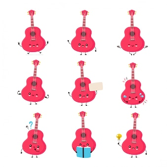 Cute happy smiling ukulele guitar set collection. isolated on white background. ukulele guitar,music mascot