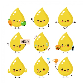Cute happy smiling urine drop character set collection. urine character concept