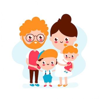 かわいい幸せな笑顔の若い家族。父、母、息子、娘一緒に。モダンなフラットスタイルのイラストアイコン。白で隔離。幸せな家族