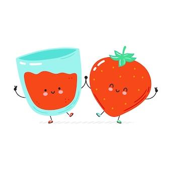 かわいい幸せなイチゴとジュースグラス