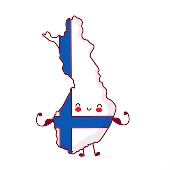 Cute happy strong funny finland map and flag character.