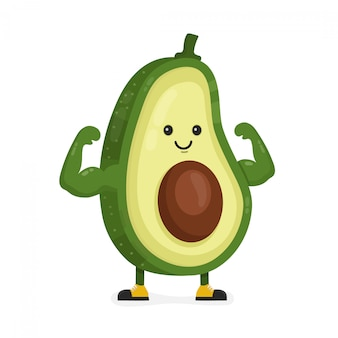 Cute happy strong smiling avocado show muscle biceps.