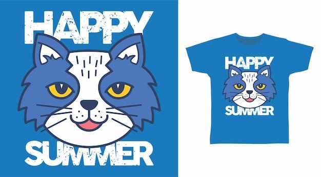 귀여운 행복한 여름 고양이 티셔츠 디자인