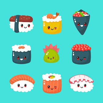 Cute happy sushi, roll and sashimi collection
