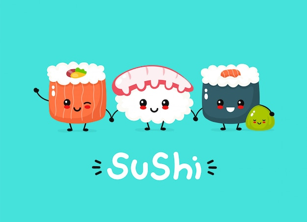 Cute happy sushi, roll and wasabi