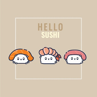 Cute happy sushi set collection