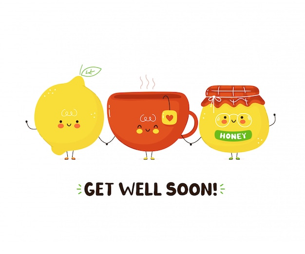Cute happy tea cup,honey and lemon. isolated on white background. cartoon character illustration card design,simple flat style. get well soon card,poster design concept