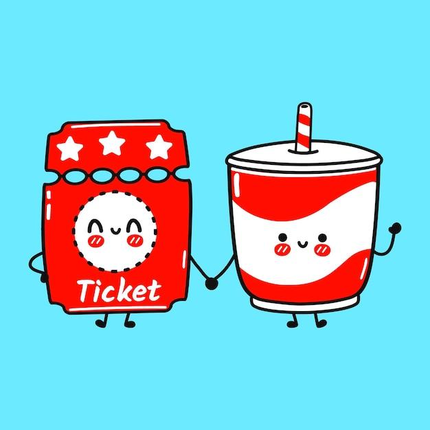 귀여운 행복 티켓과 차가운 음료 친구 개념