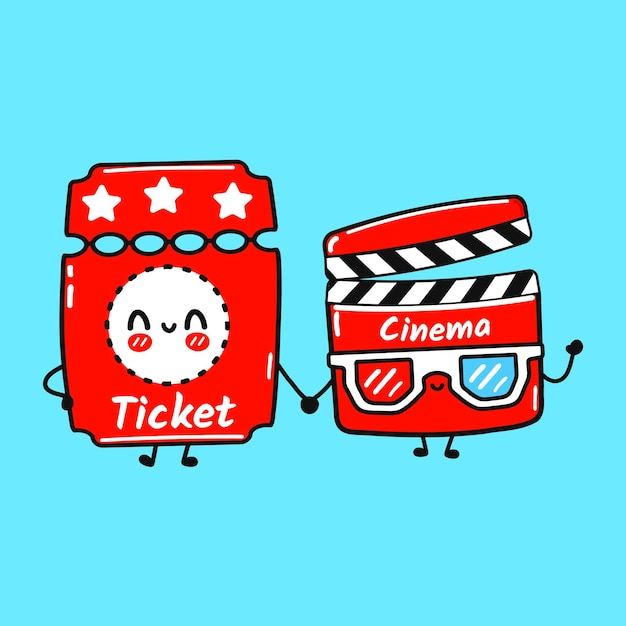 Cute happy ticket and lapperboard friends concept