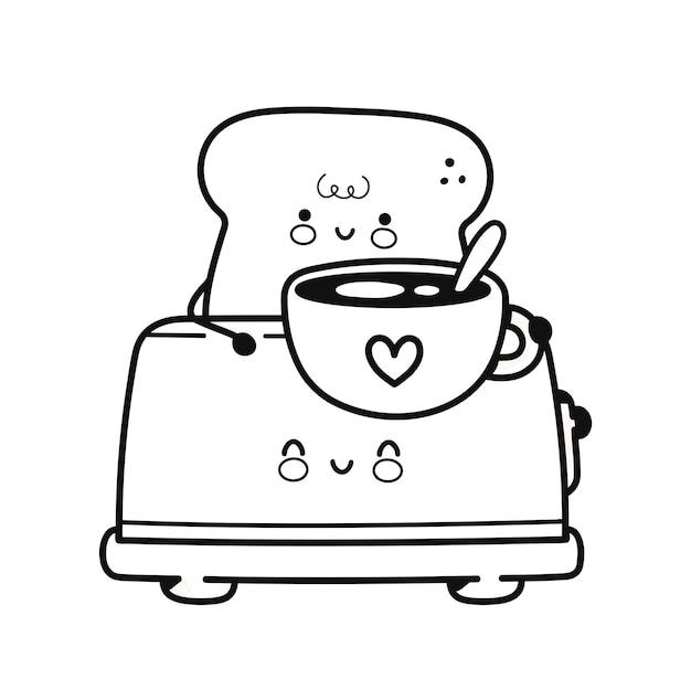本を着色するためのコーヒーマグページとトースターでかわいい幸せなトースト。ベクトルフラットライン漫画カワイイキャラクターアイコン。手描きスタイルのイラスト。白い背景で隔離。塗り絵のトースト