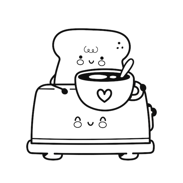 Cute happy toast in toaster with coffee mug page for coloring book. vector flat line cartoon kawaii character icon. hand drawn style illustration. isolated on white background. toast for coloring book