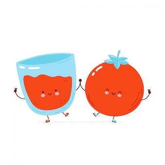 귀여운 행복 토마토와 주스 유리. 만화 캐릭터 손으로 그린 스타일 일러스트 프리미엄 벡터