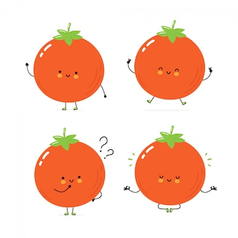 Cute happy tomato character set collection. isolated on white . vector cartoon character illustration design, simple flat style. tomato walk,train,think,meditate concept