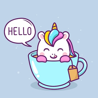 Cute happy unicorn inside blue cup