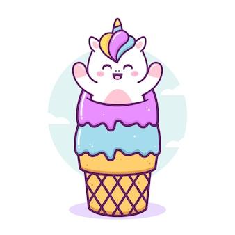 Милый счастливый единорог играет в мороженом