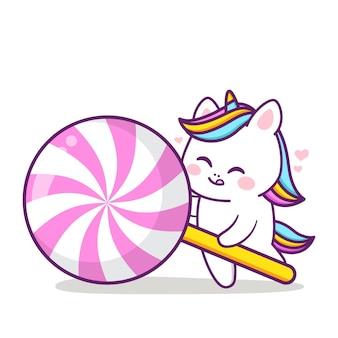 Cute happy unicorn with big lollipop