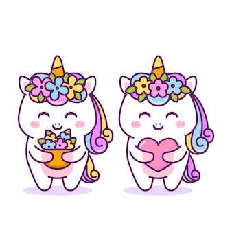 Милый счастливый единорог с цветами