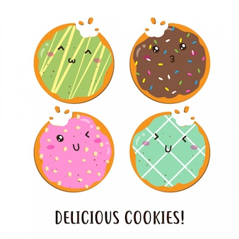 Cute happy various flavor of cookies vector design