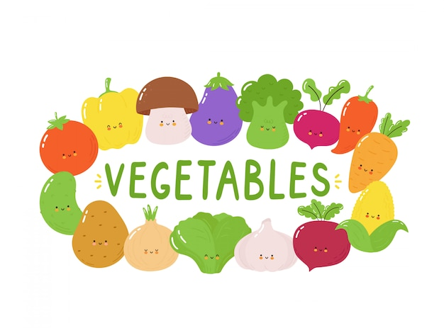 Cute happy vegetables character set. isolated on white . vector cartoon character illustration design, simple flat style. funny vegetables banner concept