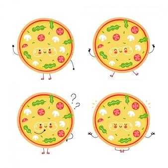 Мило счастливый вегетарианская пицца набор символов. изолированные на белом. дизайн иллюстрации персонажа из мультфильма вектора, простой плоский стиль. веганская пицца прогулка, прыгать, думать, медитировать концепция