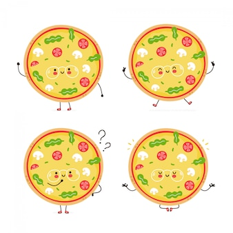 Cute happy vegetarian pizza character set collection. isolated on white . vector cartoon character illustration design, simple flat style. vegan pizza walk,jump,think,meditate concept