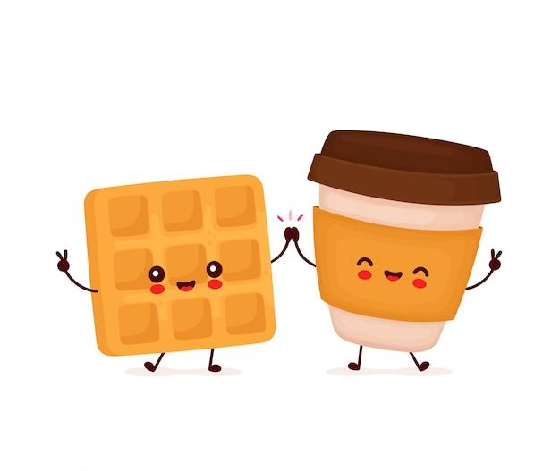 かわいい幸せなワッフルとコーヒーのキャラクター。白い背景で隔離されました。