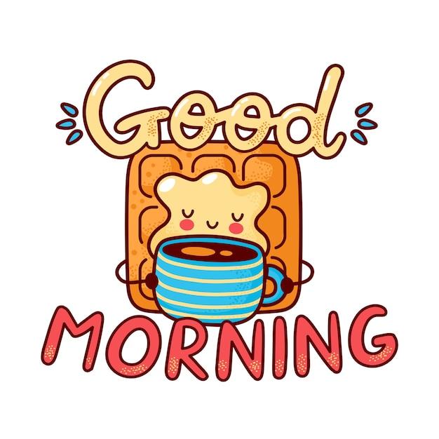 Милый счастливый вафельный напиток кофе. плоская линия мультяшного персонажа каваи. нарисованная рукой иллюстрация стиля. изолированные на белом фоне. доброе утро открытка, концепция вафли и кофе