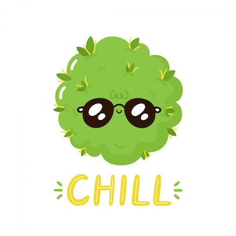 Cute happy weed bud character. chill print design. isolated on white background.