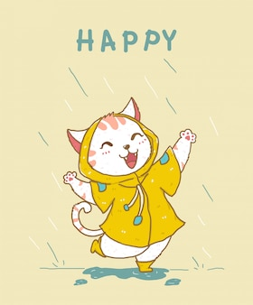 Cute happy white cat in yellow rain coat jumping in the rain, idea for greeting card, children stuff print, kid nursery illustration flat