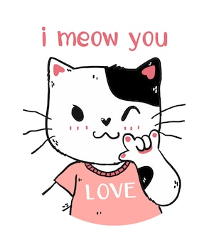 Cute happy white and pink cat i meow you with love you hand gesture signage portrait half body doodle    for nuresery art, greeting card, t shirt, sticker, printable
