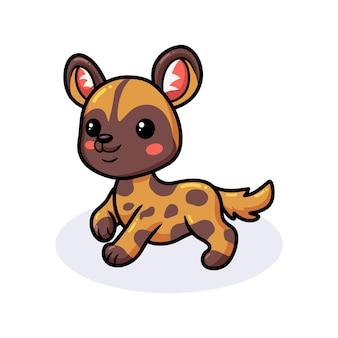 Мультфильм милый счастливый дикая собака